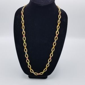 Gold Tone with Colored Gem Long Necklace